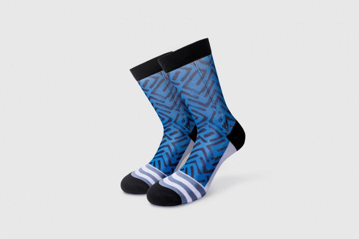 Workout Socks - Labyrinth - Blue-Black - Xenios USA