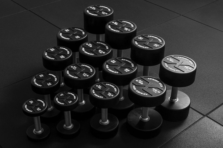 Black PU X-GRIPS Round Fixed Dumbbell (pairs)