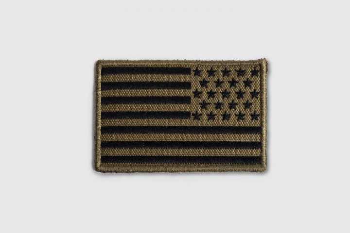 Patch - Reverse US Flag Embroidered Green