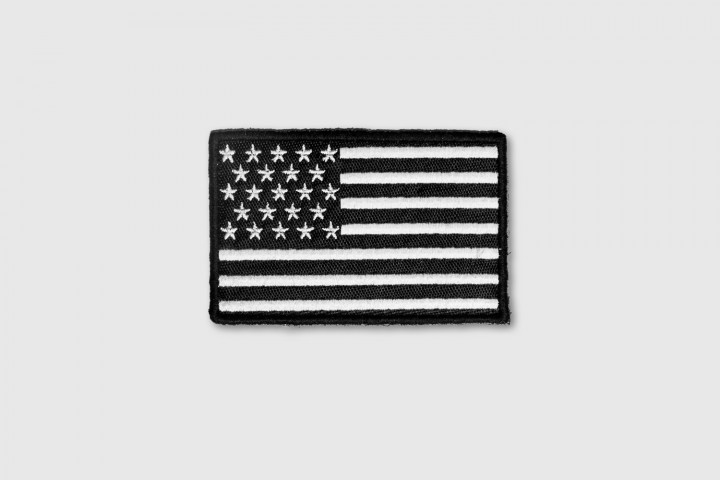 Patch - US Flag Embroidered Black