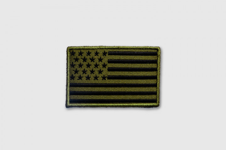 Patch - US Flag Embroidered Green