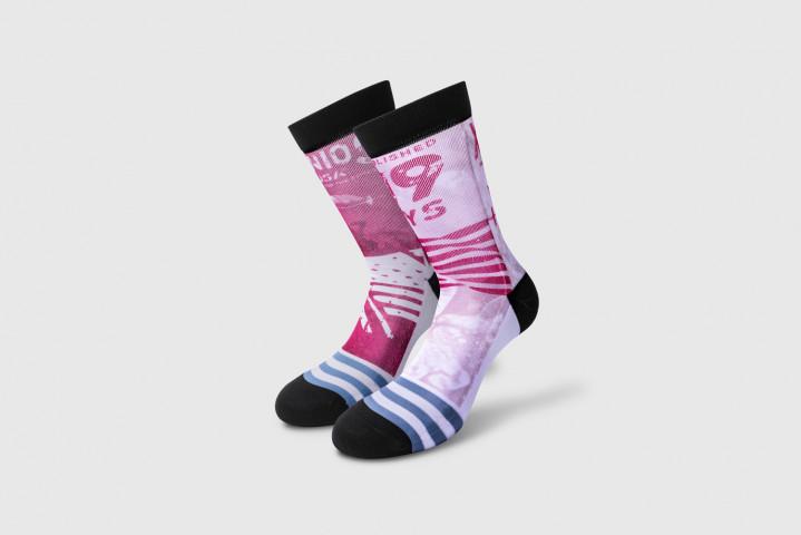 Workout Socken - Official Flag 09 - Fuchsia-Weiss - Xenios USA