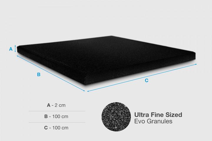 XFloor - Evo weight drop rubber tile - Black