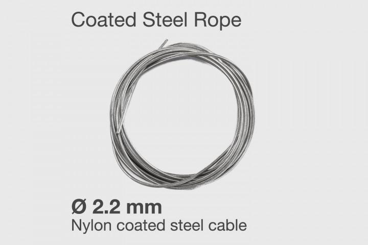 Nylon beschichtetes Stahl Ersatzkabel für Double Under-er Springseil - Ø 2.2 mm.